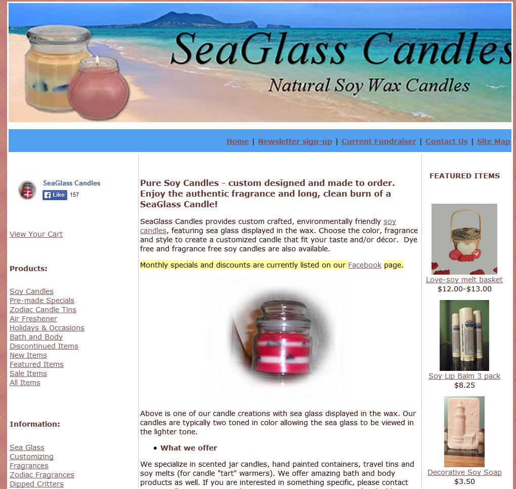 seaglass candles